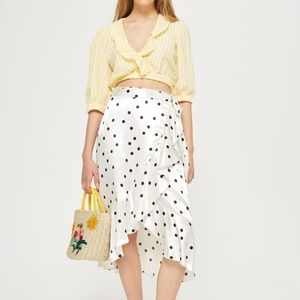 Topshop Satin Spot Print Ruffle Midi Skirt NWT, 12